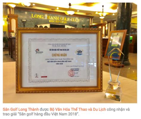 Sân golf Long Thành lọt vào top 10 'Sân golf hàng đầu Việt Nam 2018'
