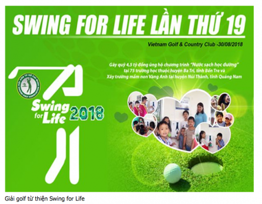 GIẢI GOLF TỪ THIỆN SWING FOR LIFE DỰ KIẾN QUYÊN GÓP HƠN 4 TỶ ĐỒNG