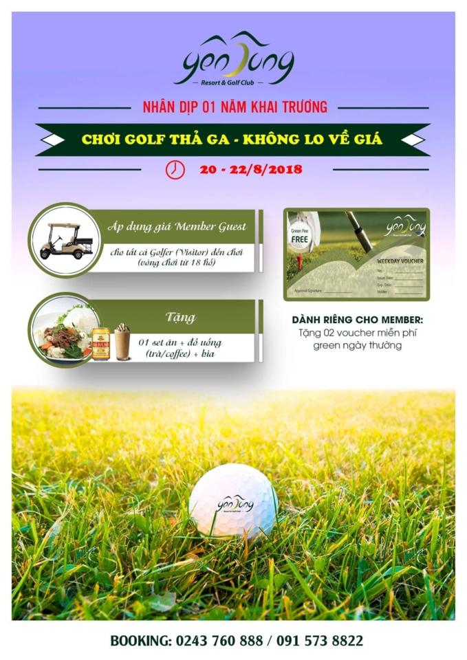 Sân Golf Yên Dũng tưng bừng ưu đãi cho golfer nhân kỷ niệm 1 năm khai trương