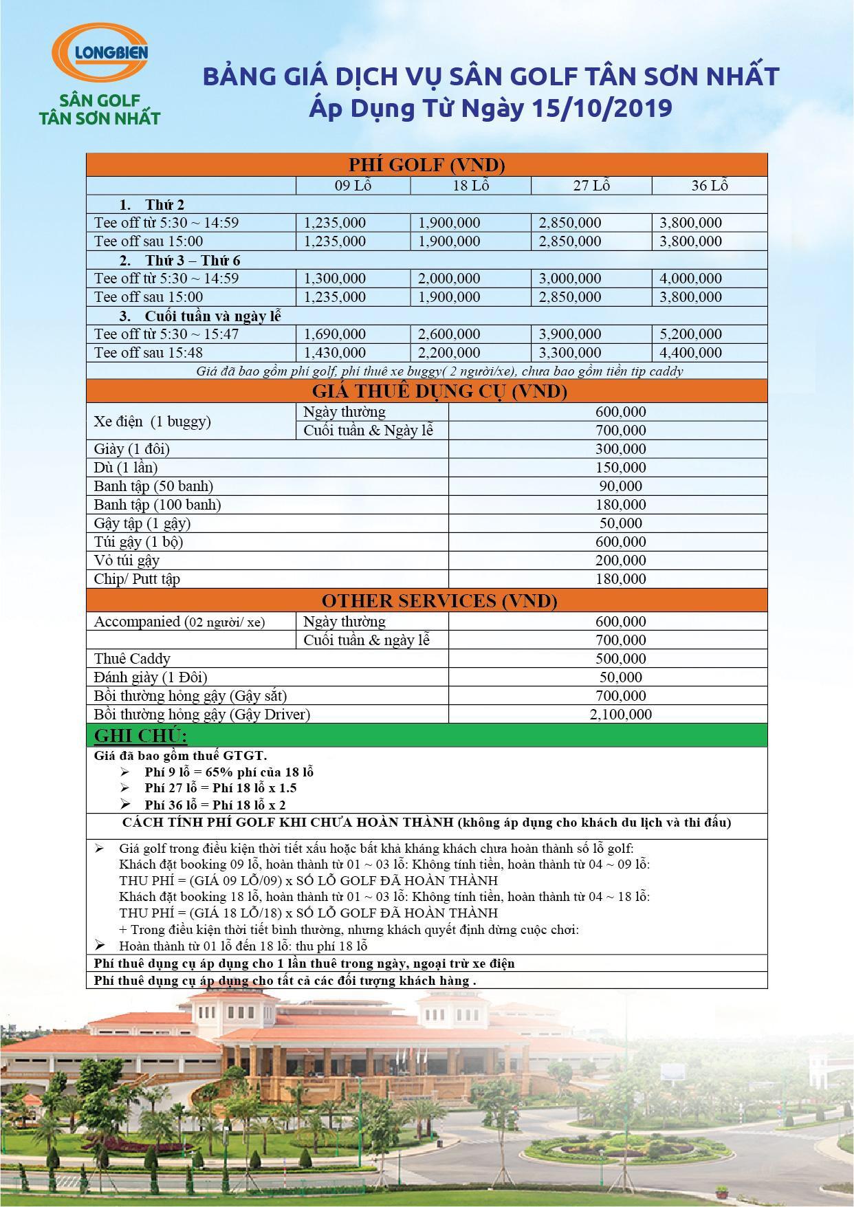 Bảng giá sân golf Tân Sơn Nhất Năm 2020