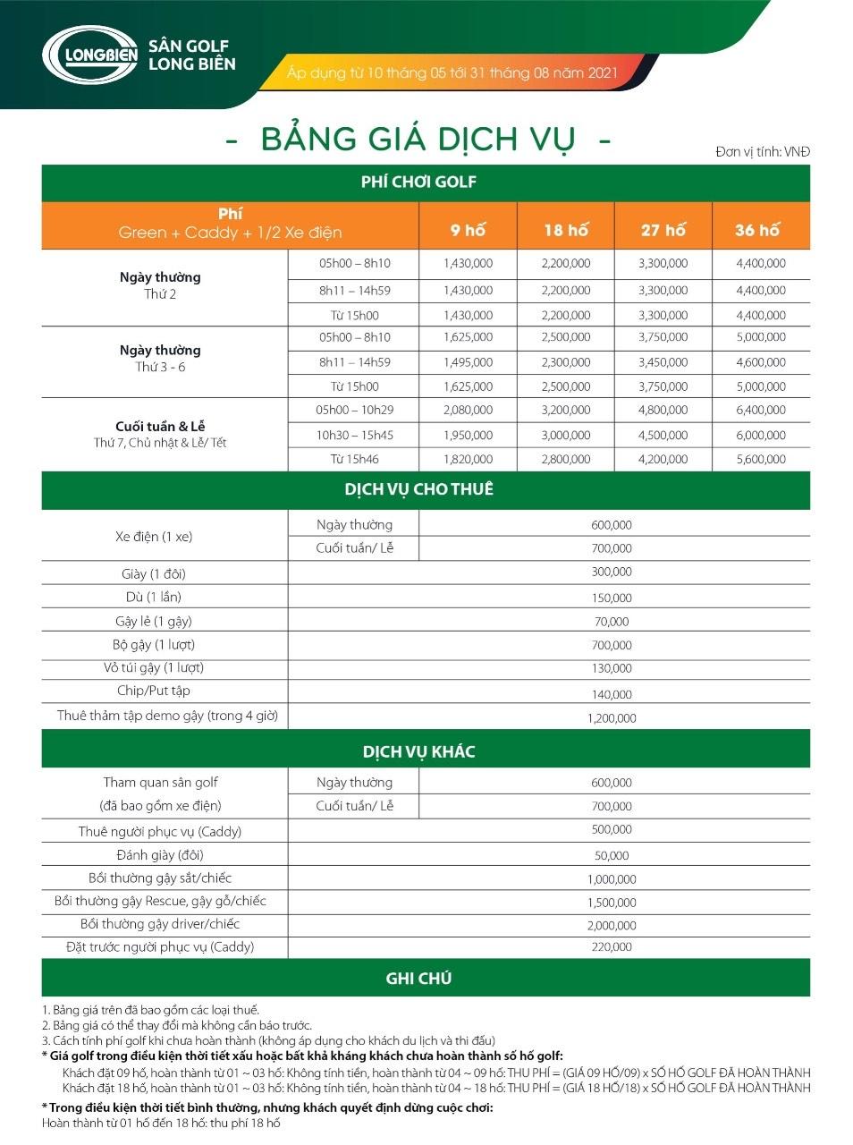 Bảng Giá Sân Golf Long Biên Golf Club Ở Hà Nội Mới Nhất Năm 2021 ~ 2022