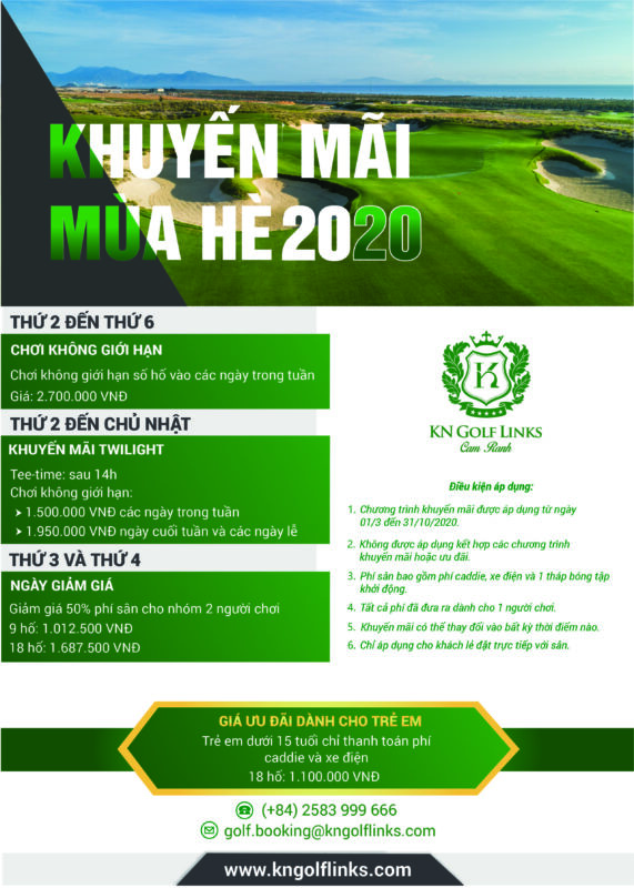 Bảng Giá Sân Gôn KN Golf Links – Cam Ranh Khánh Hoà Mới Nhất Trong Năm 2020