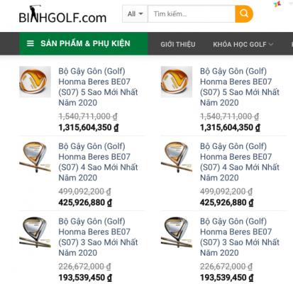 Bảng Giá Bộ Gậy Gôn (Golf) Tại BinhGolf.com Trong Năm 2020 Có Gì Thay Đổi?